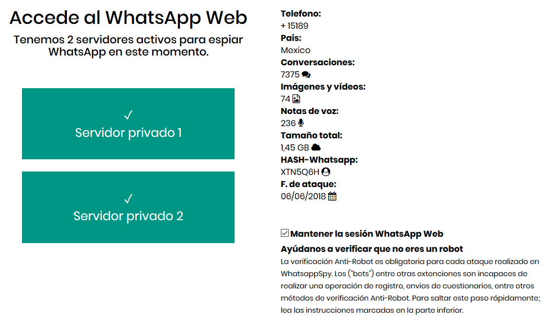 Estafa de espiar WhatsApp