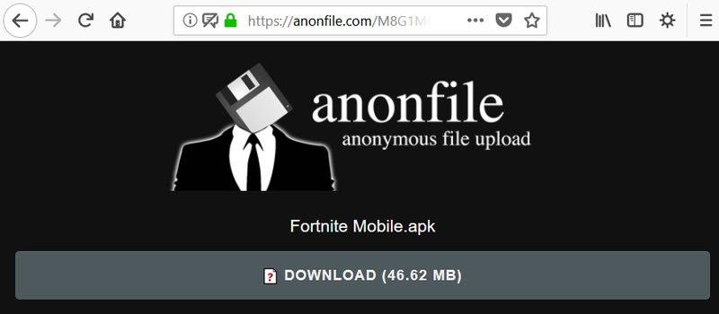 Falso APK de Fortnite para Android