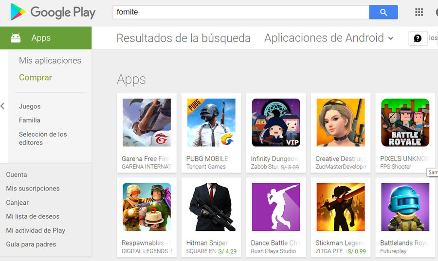 Fortnite para Android Google Play