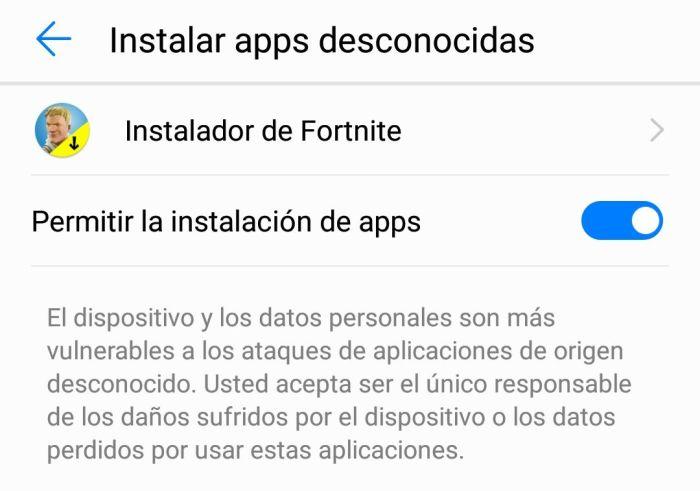 Permisos para instalar Fortnite en Android