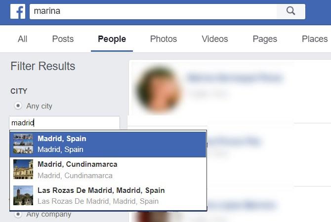 Buscar personas en Facebook por ciudad