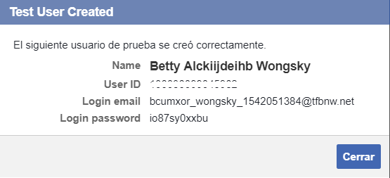 Cuenta de prueba de Facebook