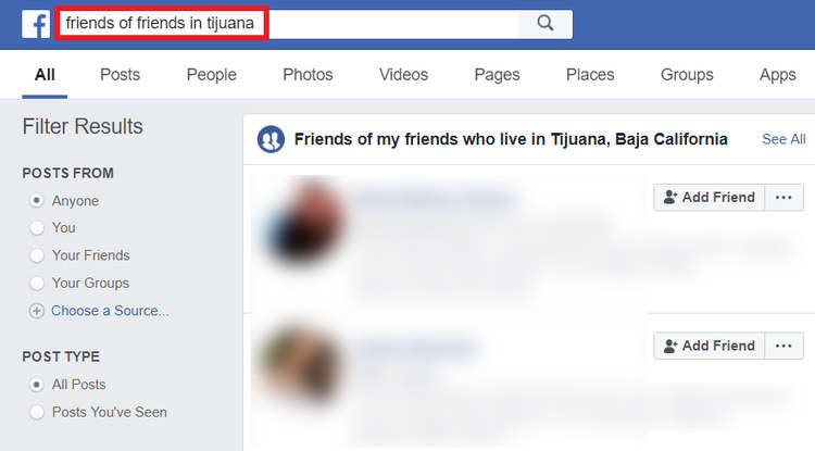 Hacks de búsqueda de Facebook