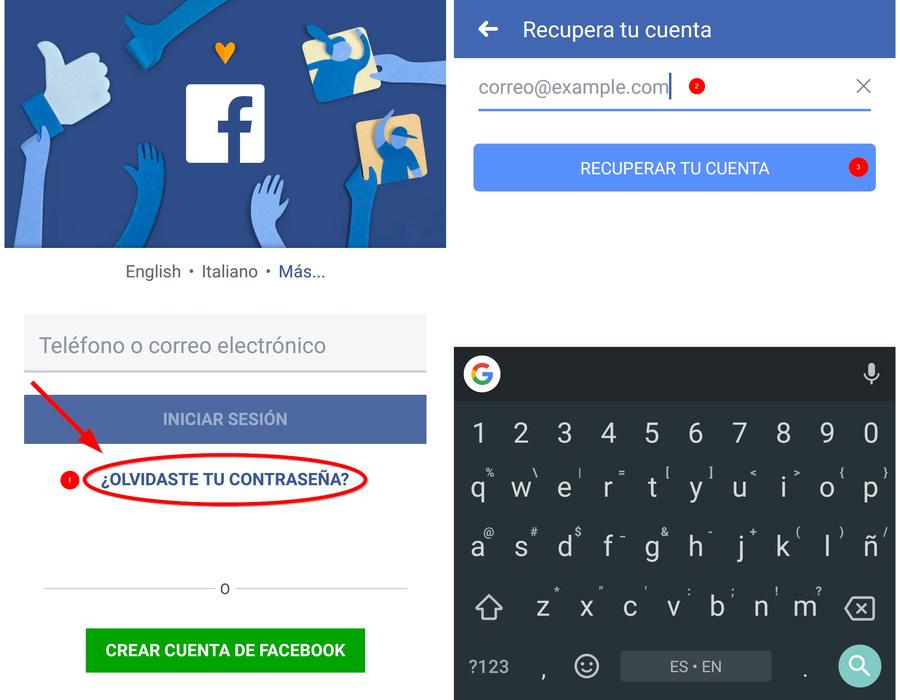 Recuperar cuenta de Facebook para móviles