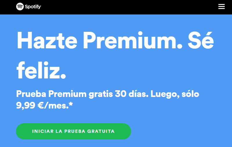 30 días de prueba de Spotify