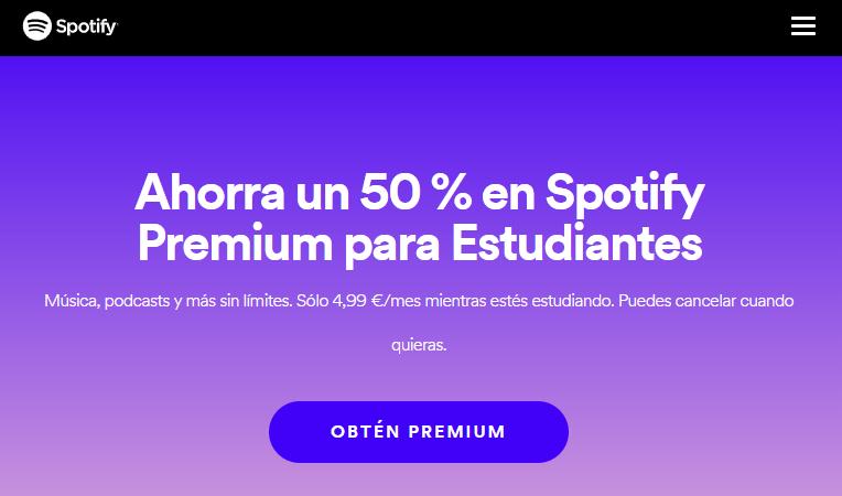 Descuento de Spotify para estudiantes