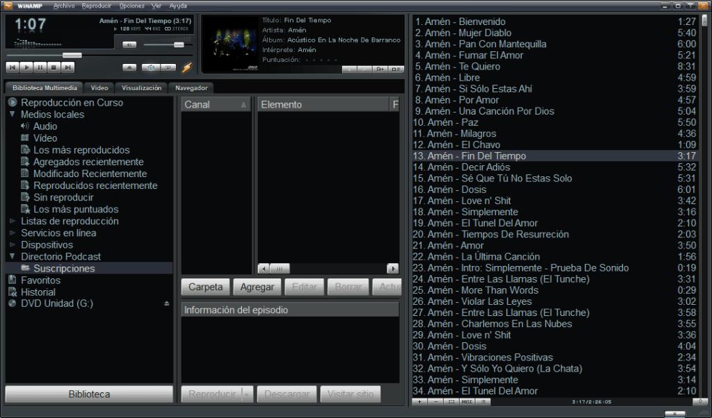 popular reproductor multimedia Winamp