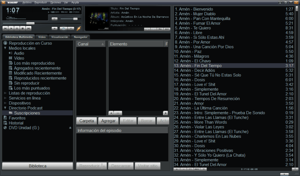 popular reproductor multimedia Winamp