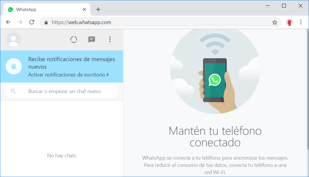 WhatsApp Web sincronizado
