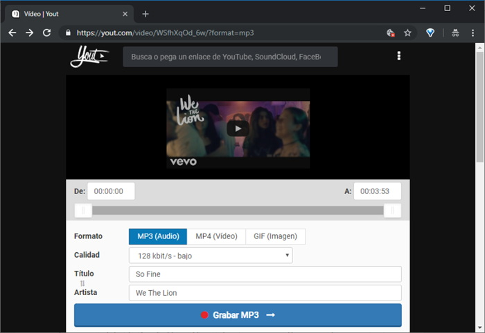Descargar música de Youtube con Yout.com