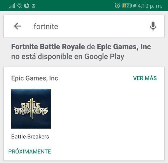 Fortnite no está disponible en Google Play.