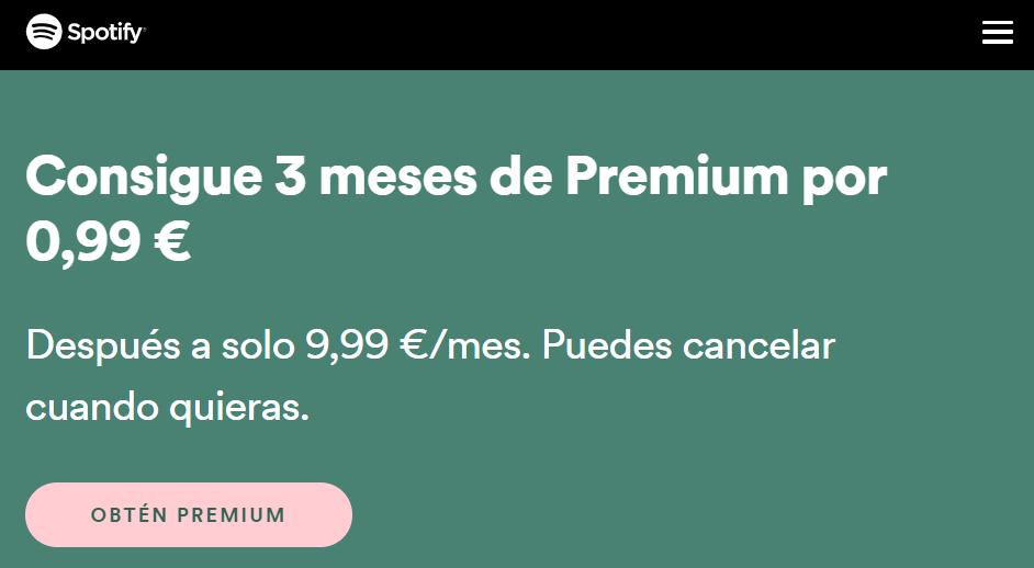 3 Meses de Spotify Premium por 0.99