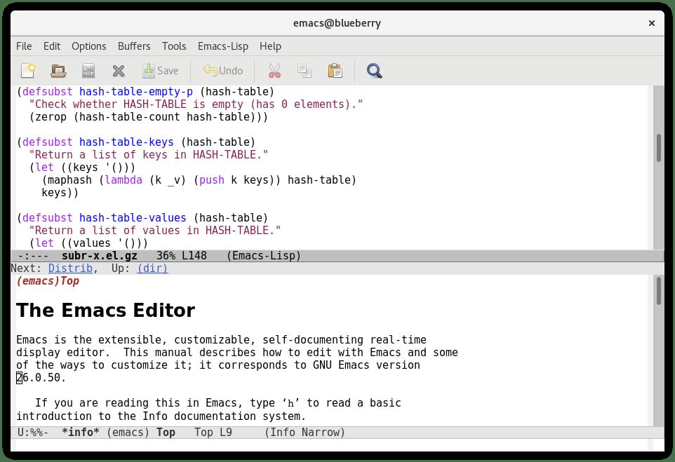 Emacs editor texto