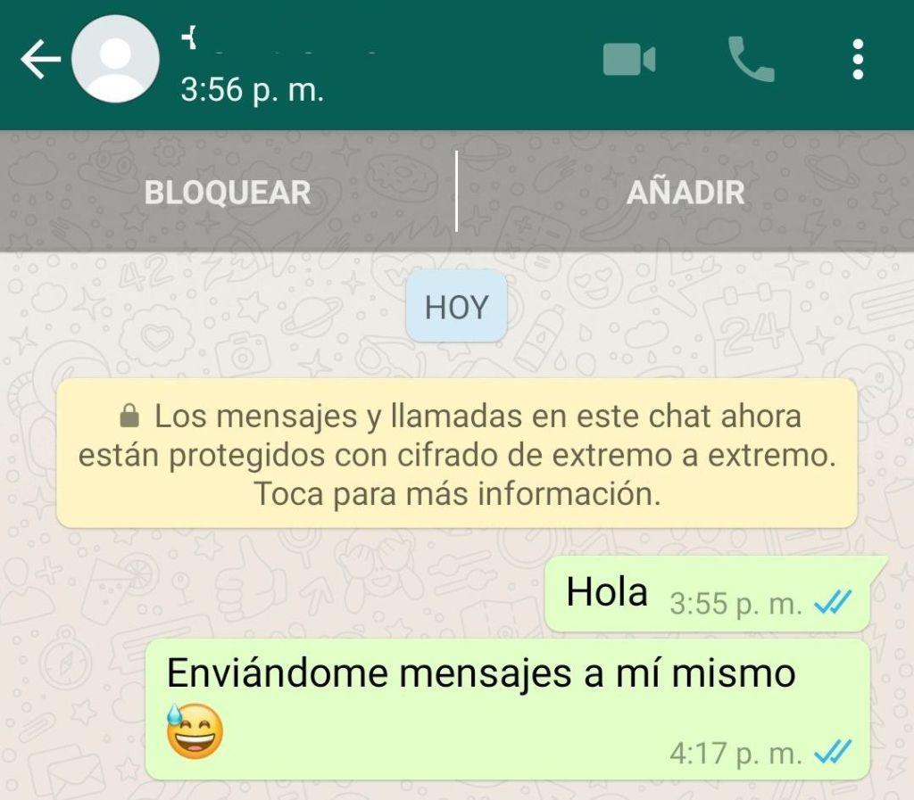 Enviar mensajes a mi mismo e WhatsApp