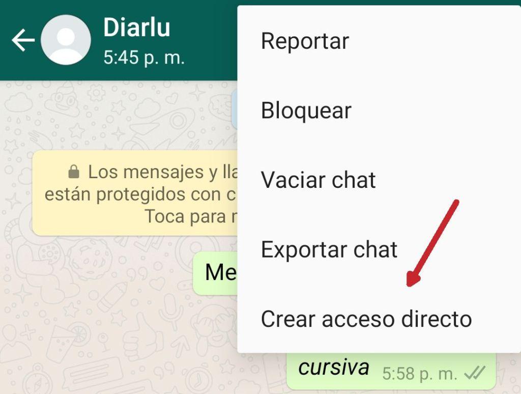 Crear acceso directo WhatsApp
