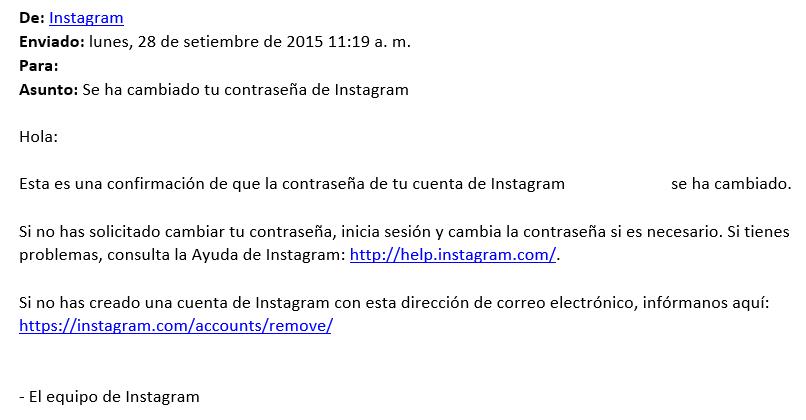 Se ha cambiado tu contraseña de Instagram