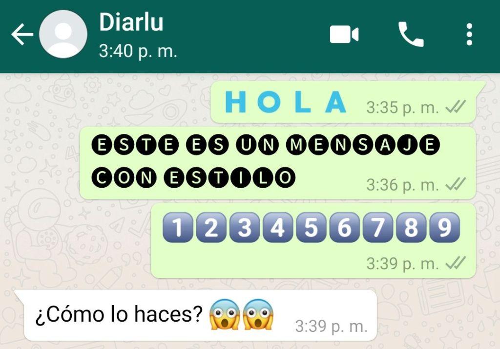 Texto con estilo WhatsApp