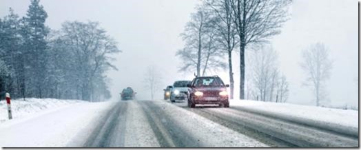 Snow on road scene 1