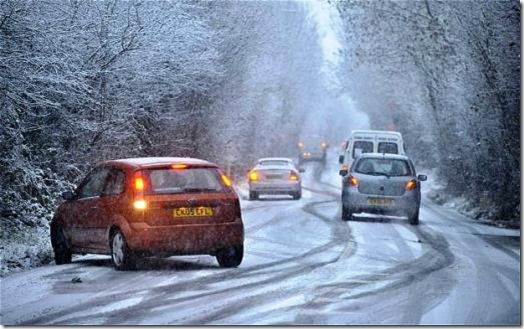 Snow on road scene 3