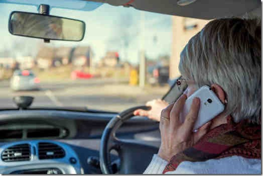 Driver using mobile phone