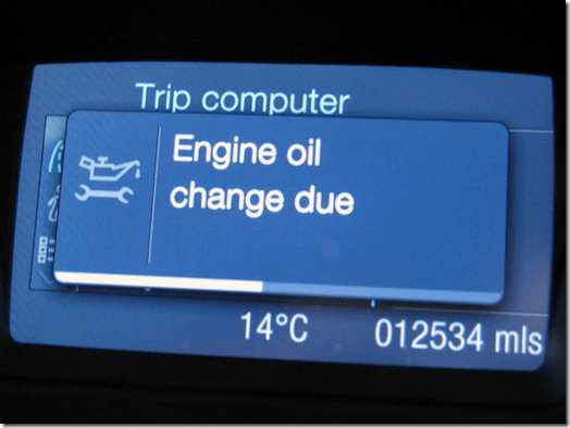 Ford Focus oil change message