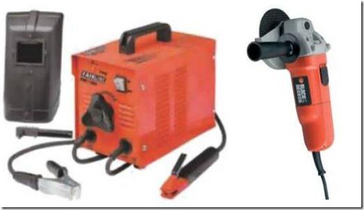 Fairline arc welder and Black and Decker angle grinder
