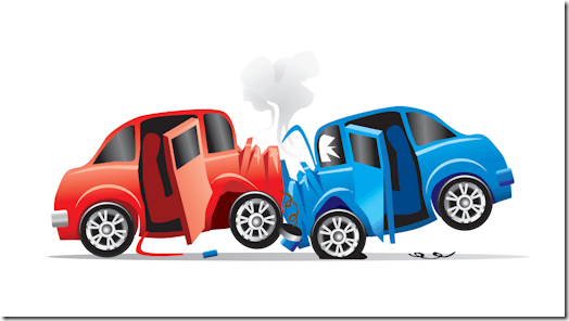 Cartoon cars, head-on crash