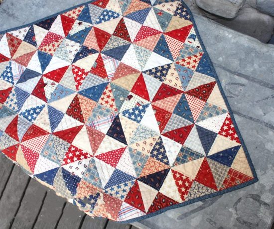 Quarter Square triangle quilt block tutorial - perfect for using Charm Squares