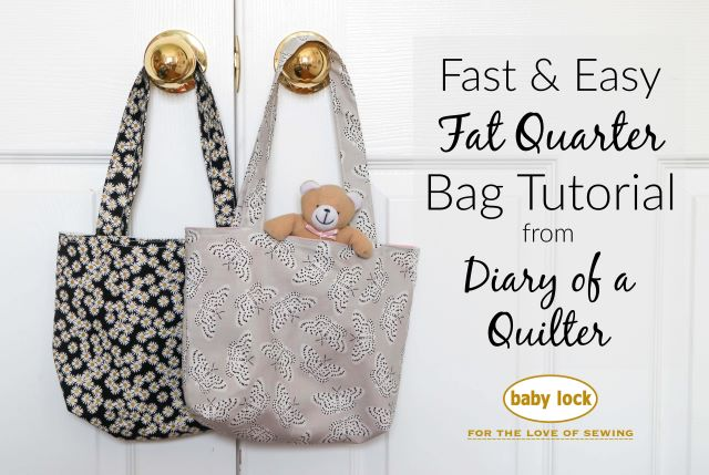 Beginning Sewing Project: Easy Lined Fat Quarter Bag with handles