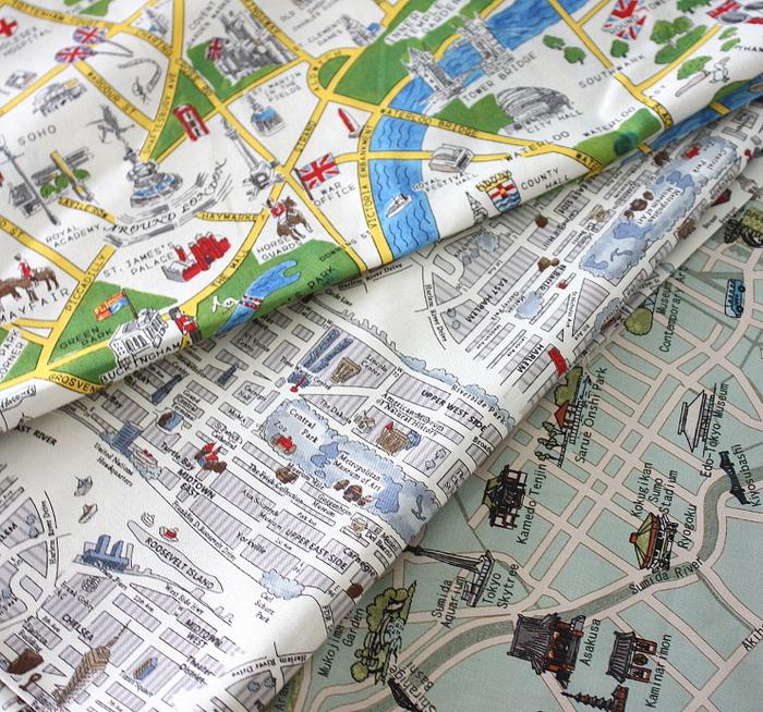 London Tokyo New York City Map Fabric