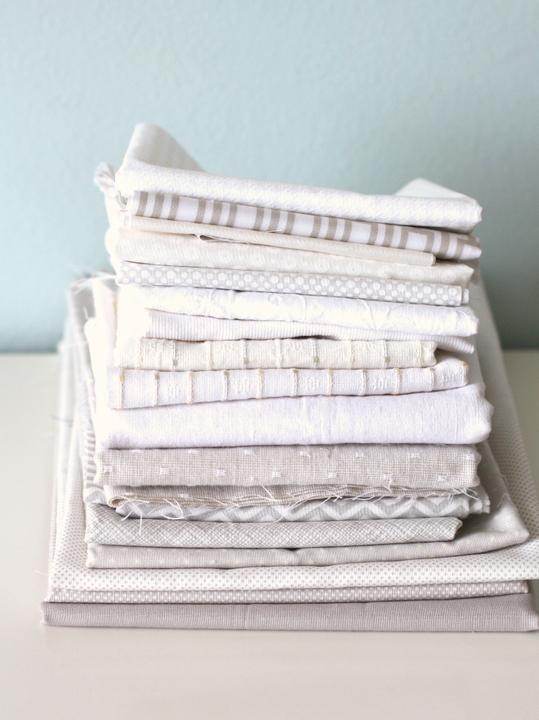 White and gray fabrics