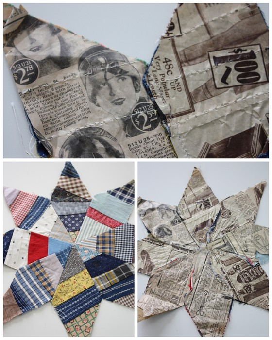 Vintage newspaper paper-pieced quilt star