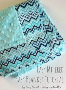 Easy Mitered Baby Blanket tutorial 1