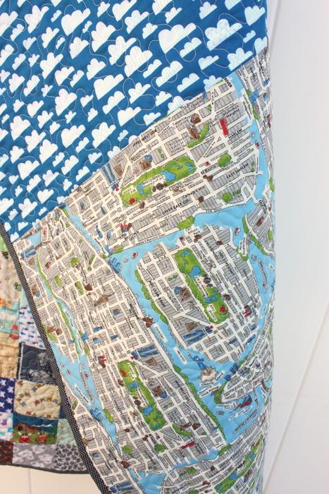 Moda Passport New York map fabrics