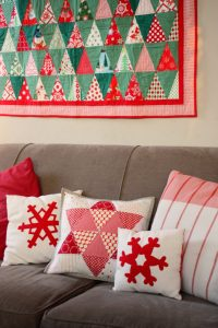 Red and white Christmas pillows handmade