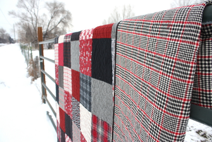 red and black plaid quilt back