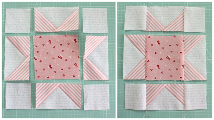 Fast Flying Geese + Sawtooth Star Quilt Block Tutorial featured by top US quilting blog, Diary of a Quilter: Sawtooth Star quilt block assembly