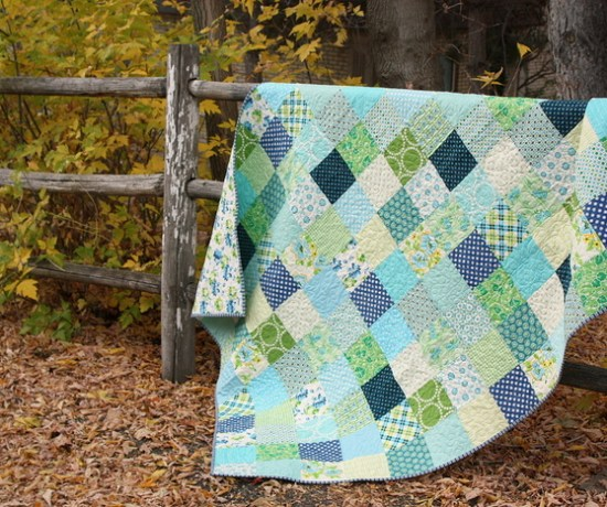 aqua-and-green-patchwork-quilt