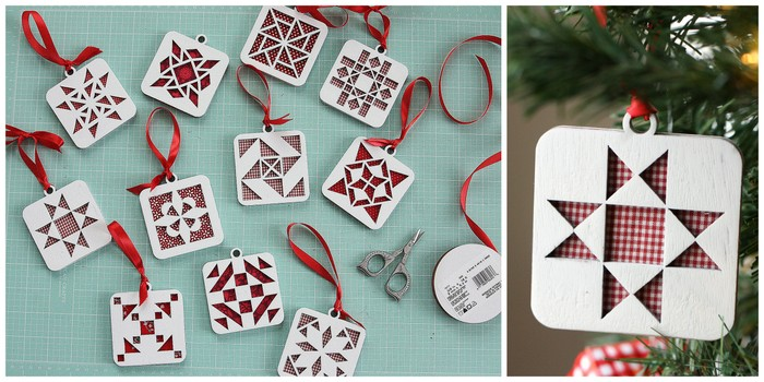 Handmade Christmas Ornament Ideas by popular Utah quilting blog, Diary of a Quilter: image of wooden cut out ornaments.
