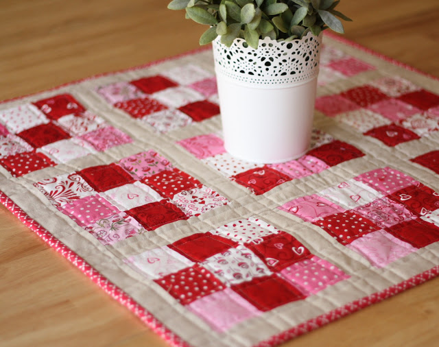 Valentine patchwork table topper