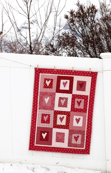 Red Hearts quilt-2