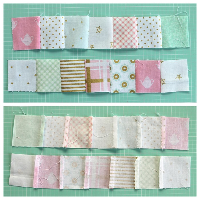 Sew patchwork rows together