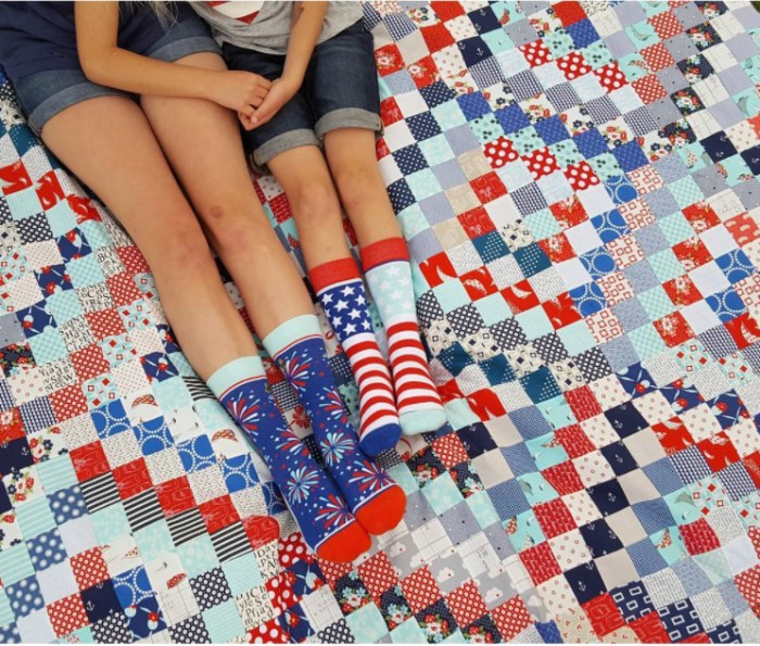 Scrappy Trip Along quilt - red, white, and blue