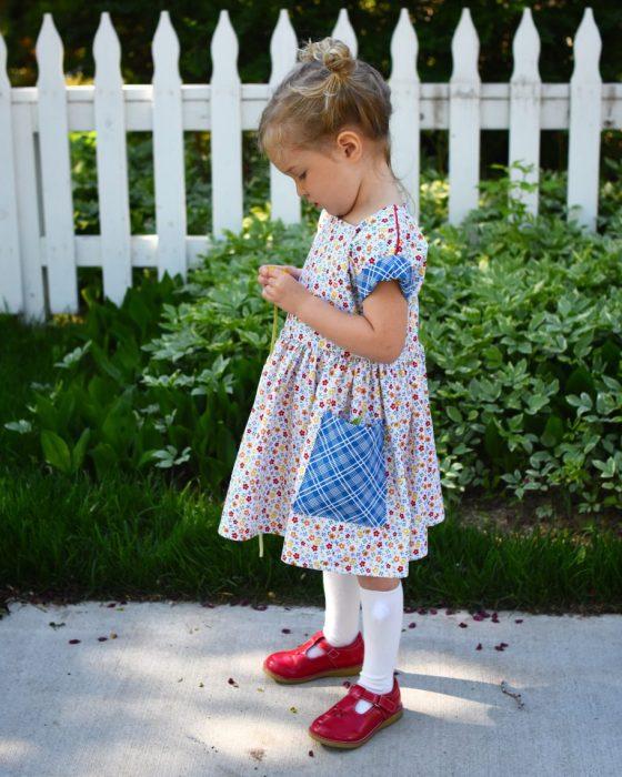 Dulcie Dress pattern made by Jill of Knee Socks and Golidlocks using Gingham Girls fabric