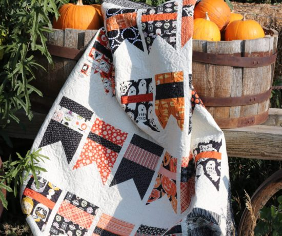 Kết quả hình ảnh cho This simple Halloween quilt is perfect for showing off cute novelty Halloween prints. This quilt was the prototype for this free Moda Bake Shop tutorial if you want to make something similar.
