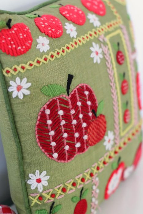 Vintage crewel-work yarn apple-themed throw pillow