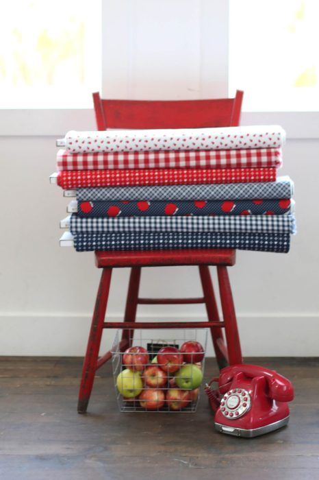 Red Navy Fabric from Sunnyside Avenue Penny Rose