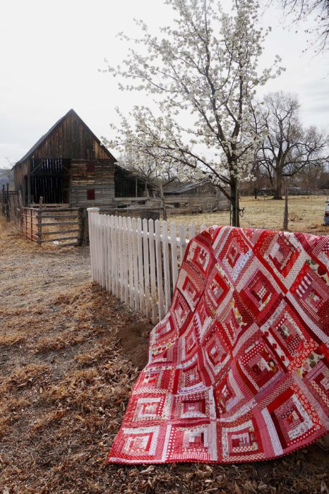 Scrap-friendly Red Log Cabin Modern Quilt