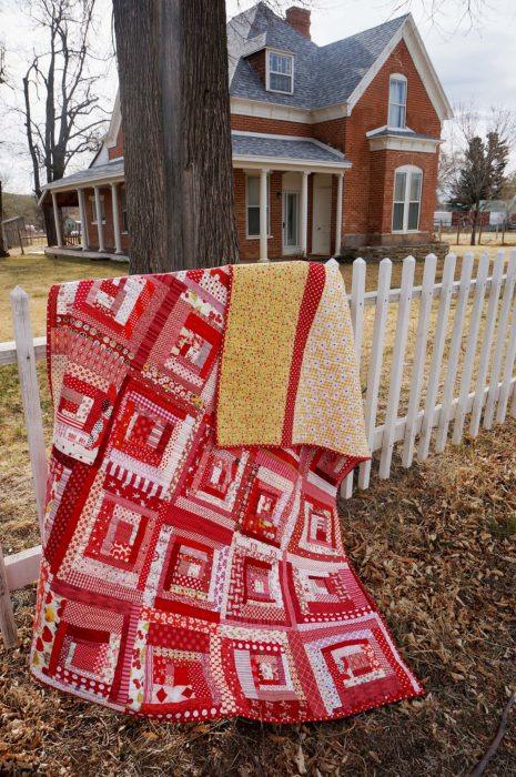 Scrappy Red Log Cabin Quilt in Escalante, Utah