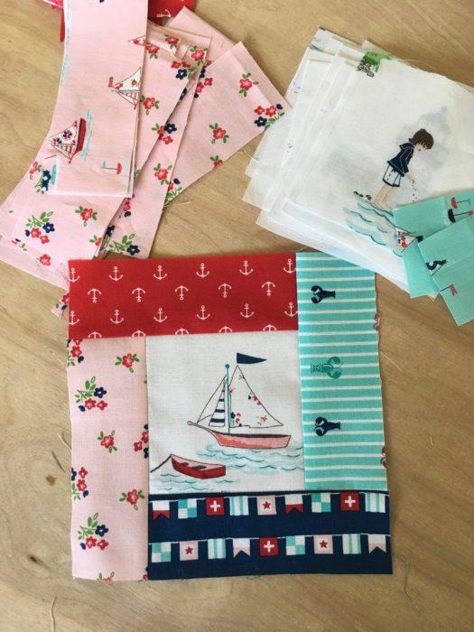 Fussy cut Seaside Quilt blocks + partial seams tutorial
